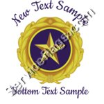 Gold Star Pin Design with Text above and below - Light Clothing