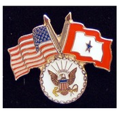 Navy Pin with Crossed US/Service Flags