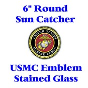 Stained Glass USMC Emblem 6-inch round