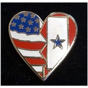 Service Flag/USA Flag Heart Pin