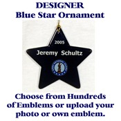 Blue Star Ornament With Selected Emblem and Text