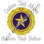 Gold Star Pin Design with Text above and below - Dark Clothing
