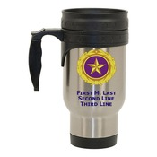 Stainless Steel Travel Mug with Gold Star Pin Design