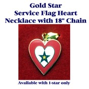 "Gold Star Service Flag Heart with 18"" Chain"